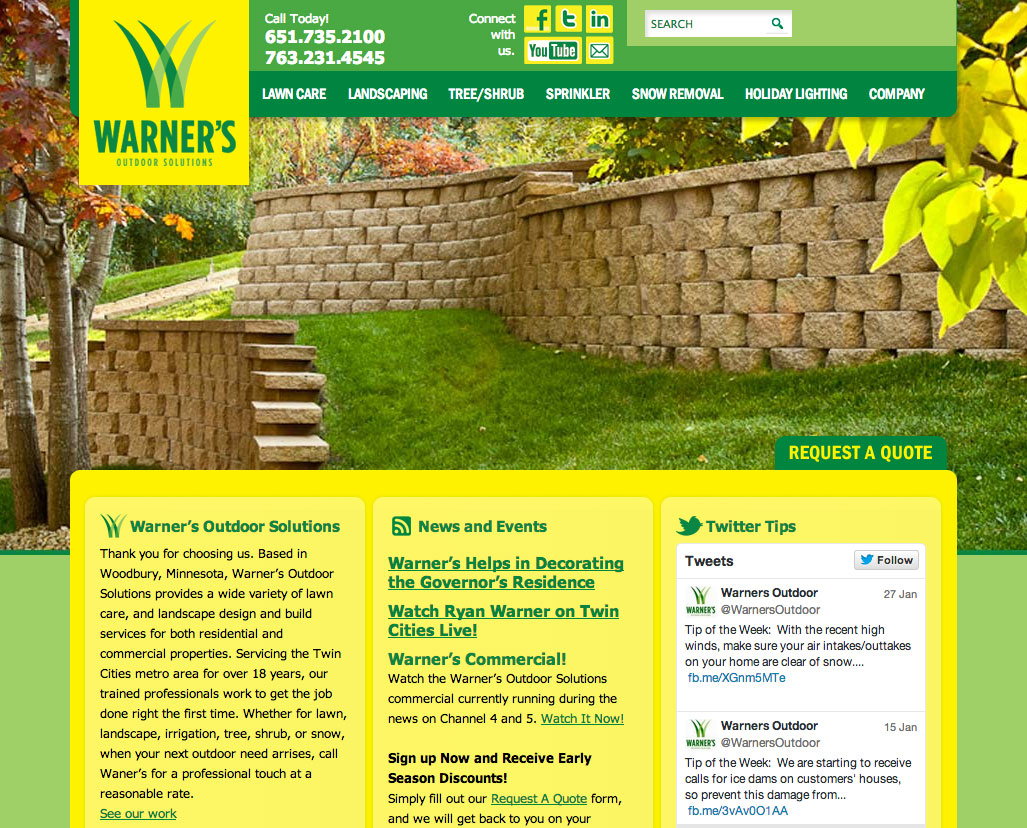 Warner's Outdoor Solutions Website